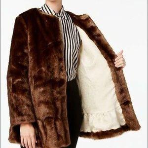 Kate Spade Brown Faux Fur Coat Jacket M NWT $499
